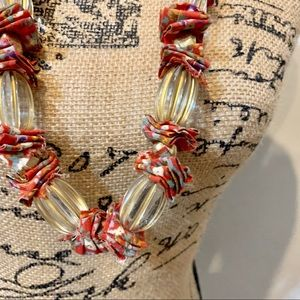 Anthropologie clear bead and fabric necklace